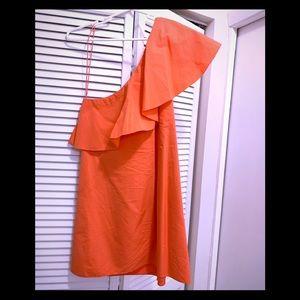 Alice + Olivia orange one shoulder dress